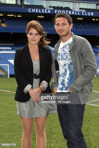 Footballer Frank Lampard with Princess Eugenie during a visit to Chelsea Football Club Stamford Bridge Fulham where she met with Sir David Tang...