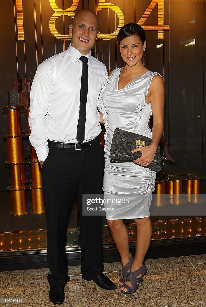 AFL footballer <a gi-track='captionPersonalityLinkClicked' href=/galleries/search?phrase=Gary+Ablett&family=editorial&specificpeople=206196 ng-click='$event.stopPropagation()'>Gary Ablett</a> and Lauren Phillips attend the Louis Vuitton Crown Melbourne store opening on October 28, 2010 in Melbourne, Australia.
