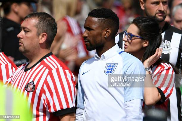 Footballer Jermain Defoe arrives for the funeral of six year old Sunderland FC fan Bradley Lowery at St Joseph's Church on July 14 2017 in Hartlepool...