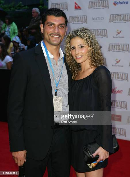 Footballer John Aloisi and his wife Angela arrive for the world premiere of 'Australia' at the George Street Greater Union Cinemas on November 18...