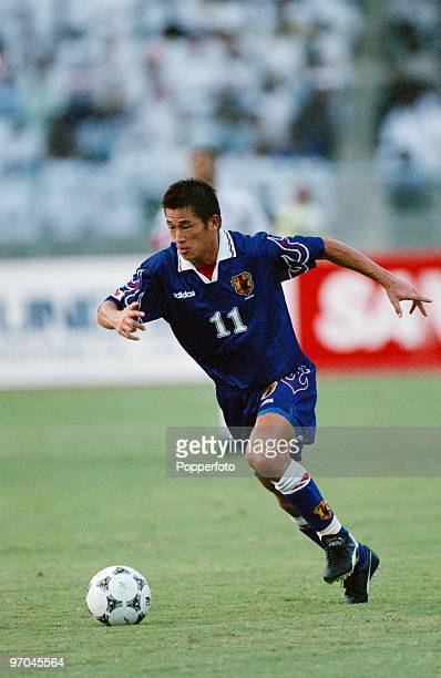 Footballer Kazuyoshi Miura of Japan in action against the United Arab Emirates in a qualifier for the 1998 FIFA World Cup Abu Dhabi 19th September...