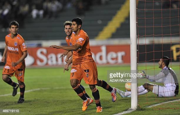 Footballer Leonardo Castro of Universitario de Sucre of Bolivia celebrates his goal against Venezuelan Mineros during the Libertadores Cup football...