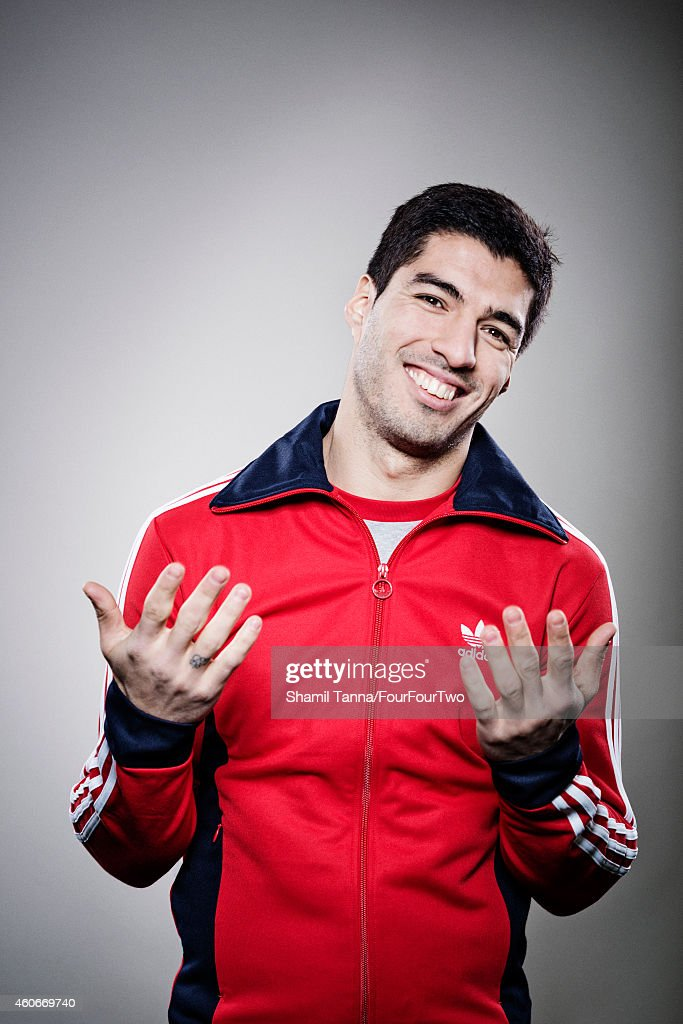Footballer Luis Suarez is photographed for FourFourTwo on February 6, 2014 in London, England.