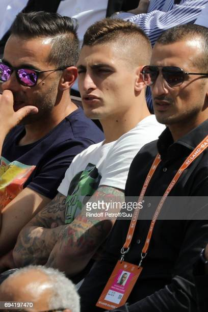 Footballer Marco Verratti is spotted at Roland Garros on June 9 2017 in Paris France