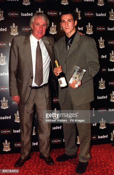 Footballer Matthew Johns of Leeds United with former football player Stan Bowles at the 'Loaded Carling Good Work Fella Awards' presentation ceremony