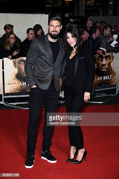 Footballer Olivier Giroud and wife Jennifer Giroud attend the World Premiere of 'I Am Bolt' at Odeon Leicester Square on November 28 2016 in London...
