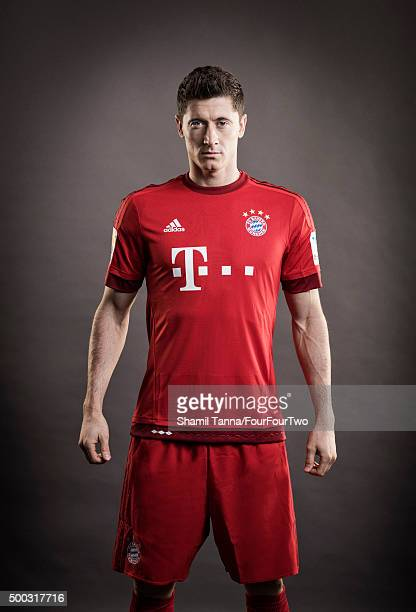 Footballer Robert Lewandowski is photographed for FourFourTwo magazine on October 19 2015 in Munich Germany