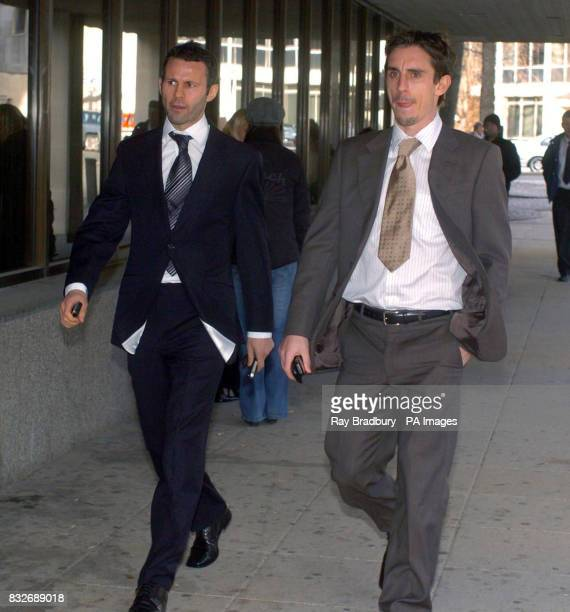 Footballer Ryan Giggs and Gary Neville arrive at Manchester High Court today to give evidence in the Michael Appleton case