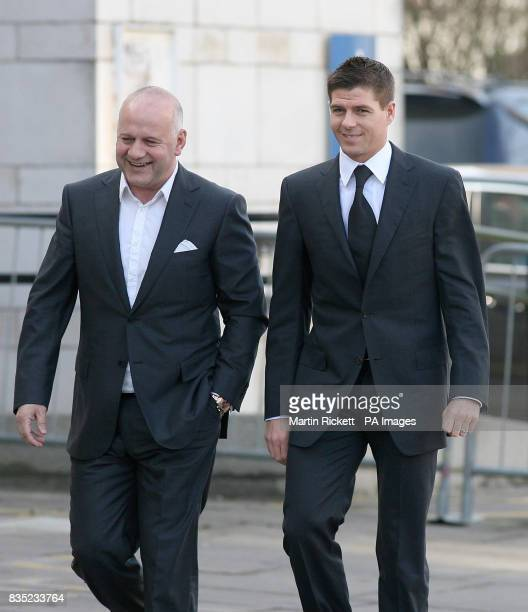 Footballer Steven Gerrard arrives with an unidentified man at North Sefton Magistrates court in Southport An assault charge against the England star...