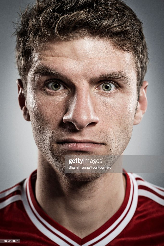 Footballer Thomas Muller is photographed for FourFourTwo magazine on November 6, 2013 in London, England.