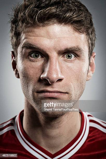Footballer Thomas Muller is photographed for FourFourTwo magazine on November 6 2013 in London England