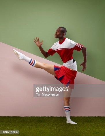 Footballer top, cheer leader bottom