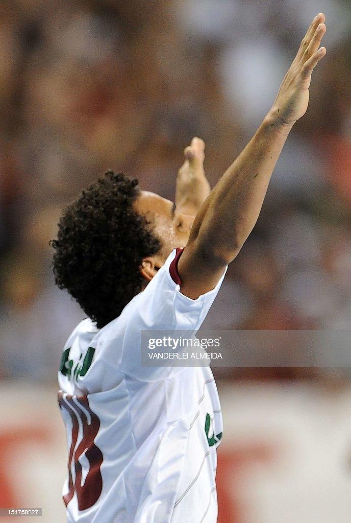 Footballer Wellington Nem of Fluminense celebrates after scoring against Coritiba during a Brazilian Cup football match held at the Joao Havelange...