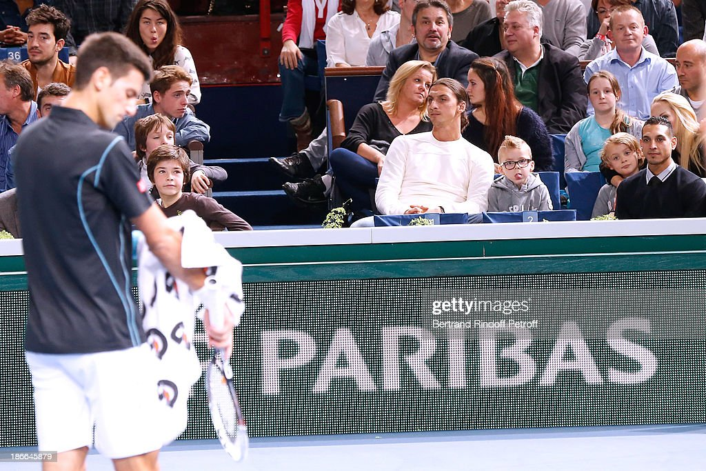 Footballer Zlatan Ibrahimovic attends the match between Novak Djokovic of Serbia and Roger Federer of Switzerland during day six of the BNP Paribas Tennis Masters, held at Bercy on November 2, 2013 in Paris, France.