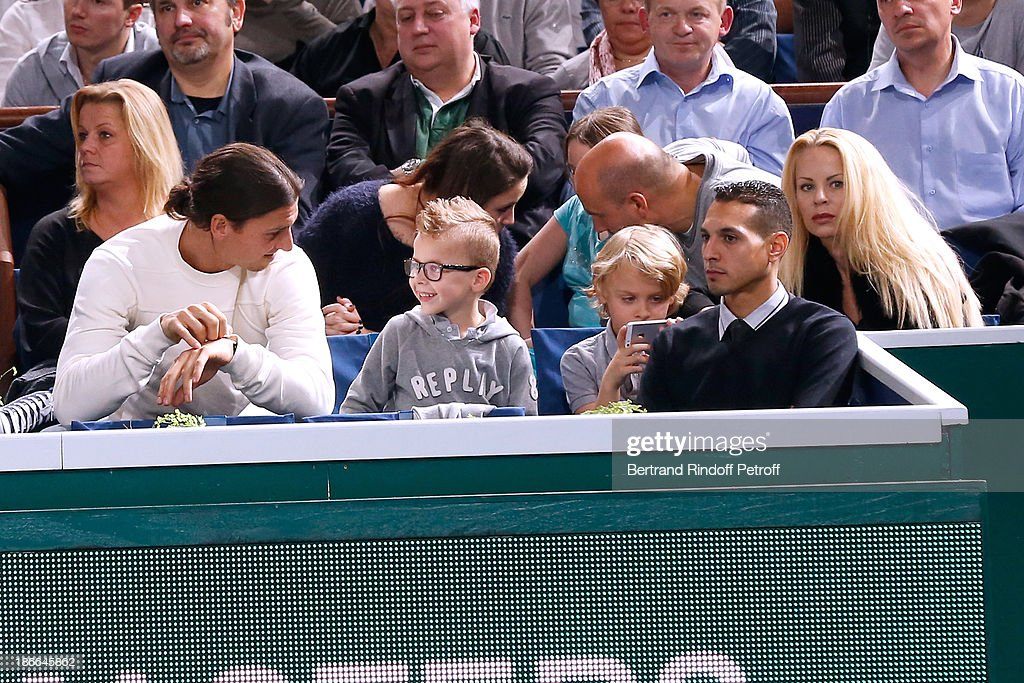 Footballer Zlatan Ibrahimovic with his wife Elena Seger and their sons attend the match between Novak Djokovic of Serbia and Roger Federer of Switzerland during day six of the BNP Paribas Tennis Masters, held at Bercy on November 2, 2013 in Paris, France.