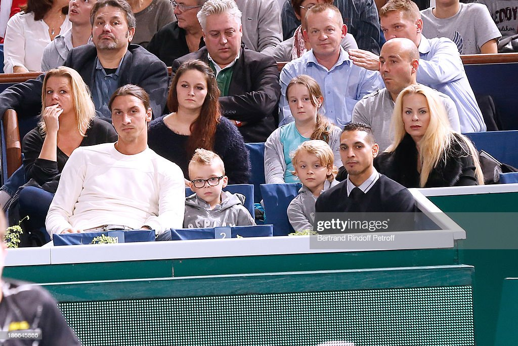 Footballer <a gi-track='captionPersonalityLinkClicked' href=/galleries/search?phrase=Zlatan+Ibrahimovic&family=editorial&specificpeople=206139 ng-click='$event.stopPropagation()'>Zlatan Ibrahimovic</a> with his wife Elena Seger and their sons attend the match between Novak Djokovic of Serbia and Roger Federer of Switzerland during day six of the BNP Paribas Tennis Masters, held at Bercy on November 2, 2013 in Paris, France.