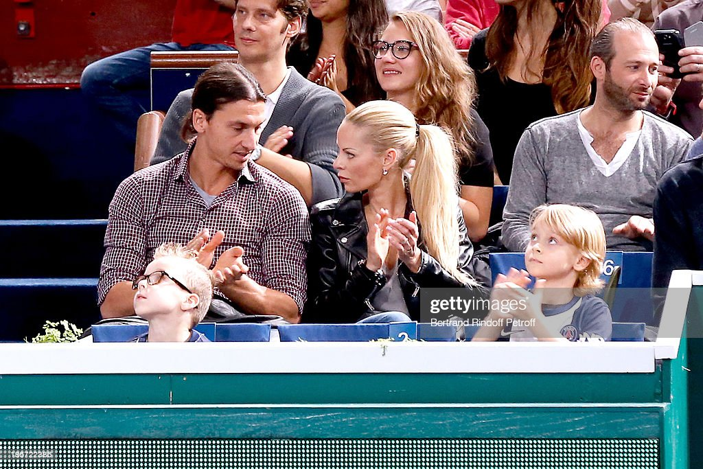 Footballer <a gi-track='captionPersonalityLinkClicked' href=/galleries/search?phrase=Zlatan+Ibrahimovic&family=editorial&specificpeople=206139 ng-click='$event.stopPropagation()'>Zlatan Ibrahimovic</a> with his wife Elena Seger and their sons attend the the match between Novak Djokovic against David Ferrer in the final of the BNP Paribas Tennis Masters, day seven, at Palais Omnisports de Bercy on November 3, 2013 in Paris, France.