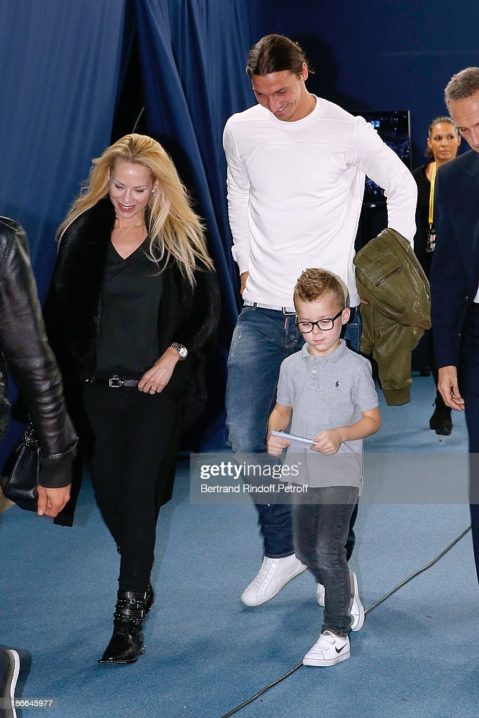Footballer Zlatan Ibrahimovic with his wife Elena Seger and their son attend the day six of the BNP Paribas Tennis Masters, held at Bercy on November 2, 2013 in Paris, France.