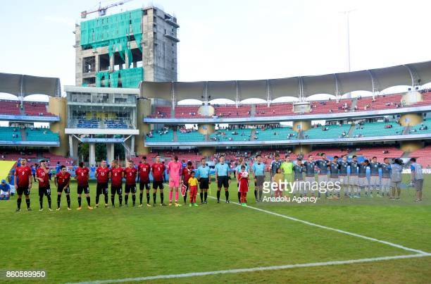 Footballers are seen during the national anthem ceremony before the 2017 FIFA U17 World Cup football match between Turkey U17 and Paraguay U17 in...