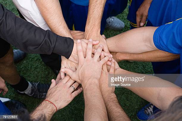 Footballers bonding