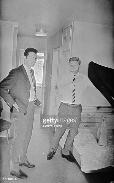 Footballers Franz Beckenbauer and Helmut Haller in their hotel room at Peverill of the Peak where the German team are staying during the 1966 World...