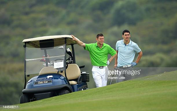 Footballers James Milner and Gareth Barry of Manchester City look on during the Pro Am for the Volvo World Match Play Championship at Finca Cortesin...