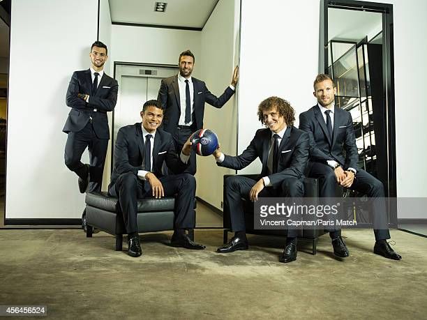 Footballers Javier Pastore Thiago Silva Salvatore Sirigu David Luiz and Yohan Cabaye are photographed for Paris Match on August 28 2014 in Paris...