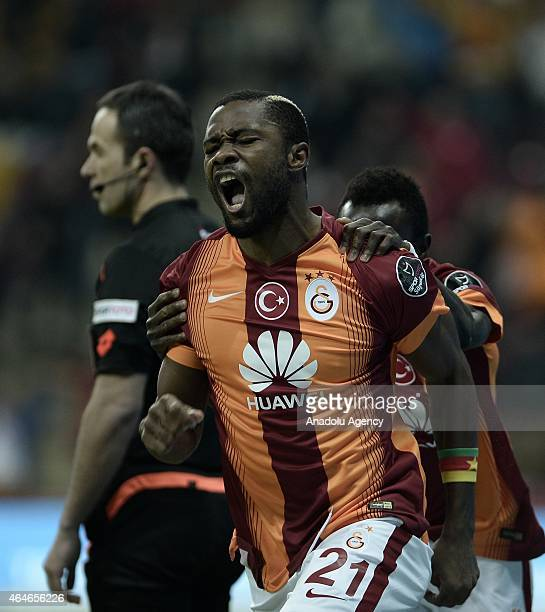 Footballers of Galatasaray celebrate after Aurelien Chedjou scores the a goal of Galatasaray during the Turkish Spor Toto Super League soccer match...