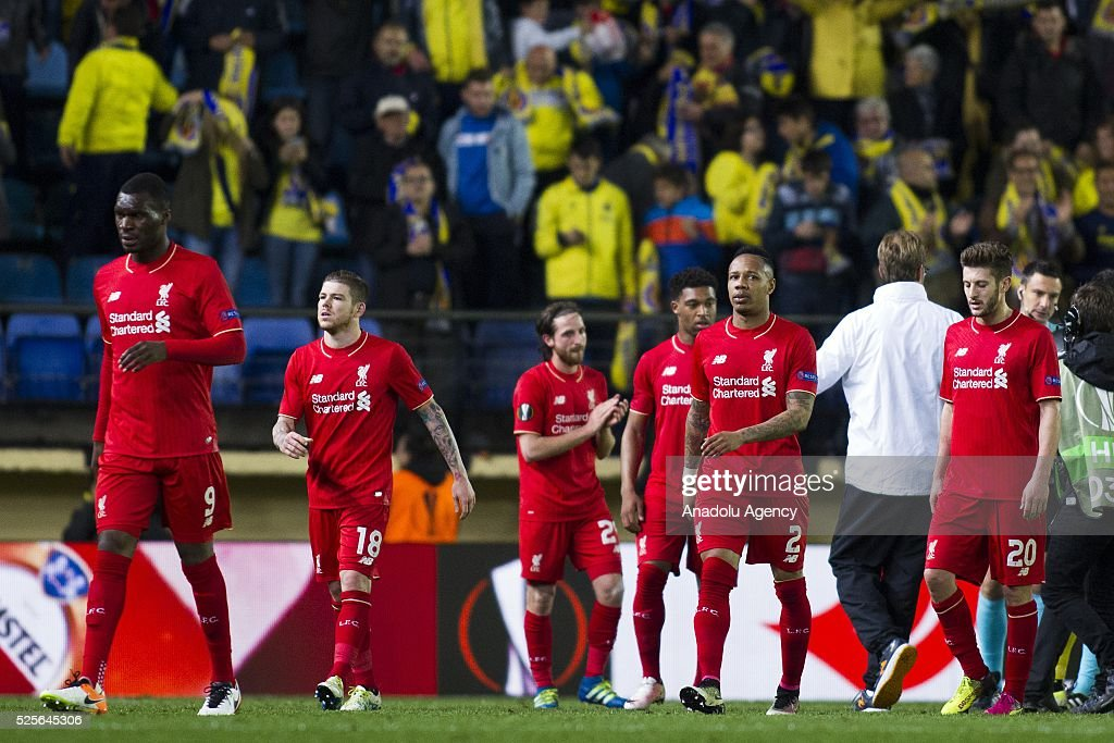 Footballers of Liverpool are seen after loosing the UEFA Europa League Semi Final match between Villarreal and Liverpool at Estadio El Madrigal in Villareal, Spain on April 28, 2016.