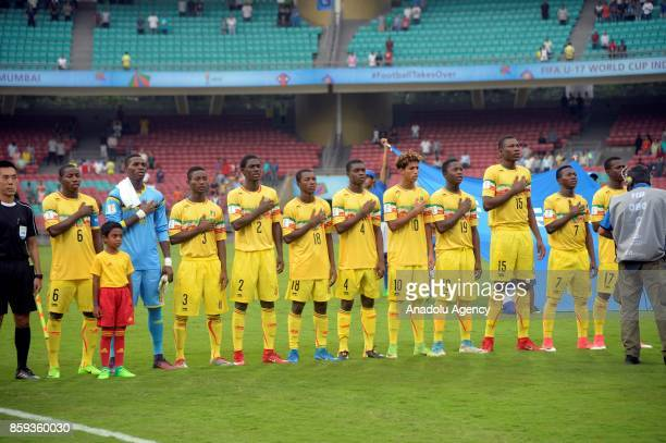 Footballers of Mali are seen during the ceremony within a 2017 FIFA U17 World Cup football match between Turkey U17 and Mali U17 in Mumbai India on...