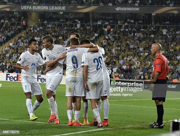 Footballers of Molde celebrate after scoring a goal during the UEFA Europe League Group A match between Fenerbahce and Molde in Istanbul Turkey on...