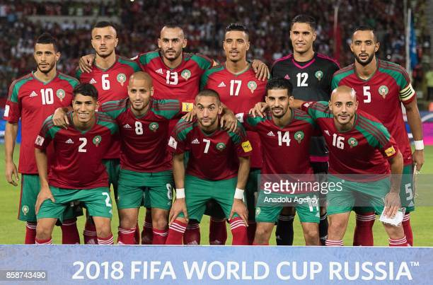 Footballers of Morocco pose for a photo before the 2018 FIFA World Cup Qualifying group C football match between Morocco and Gabon at the Mohamed V...