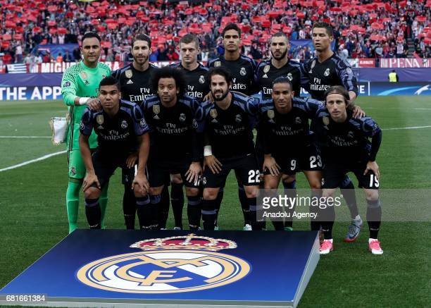 Footballers of Real Madrid pose for photograph ahead the UEFA Champions League semi final second leg match between Atletico Madrid and Real Madrid at...