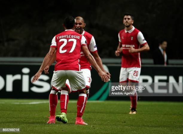 Footballers of Sporting Braga celebrate after scoring a goal during the UEFA Europa League Group C match between Sporting Braga and Medipol...