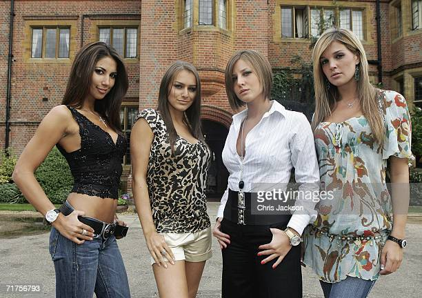 Footballers wives and girlfriends Leilani Dowding Louise White Laura Wallis and Danielle Lloyd pose for a photograph outside Hanbury Manor on August...