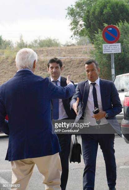 Footballing superagent Jorge Mendes arrives at the Court in Pozuelo de Alarcon on June 27 2017 to be questioned by Spanish judge as part of a probe...