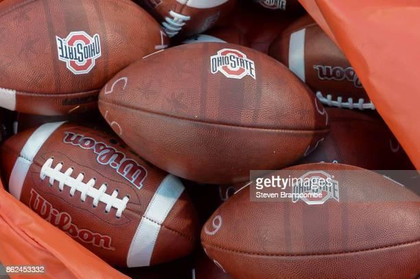 Footballs for the Ohio State Buckeyes before the game against the Nebraska Cornhuskers at Memorial Stadium on October 14 2017 in Lincoln Nebraska