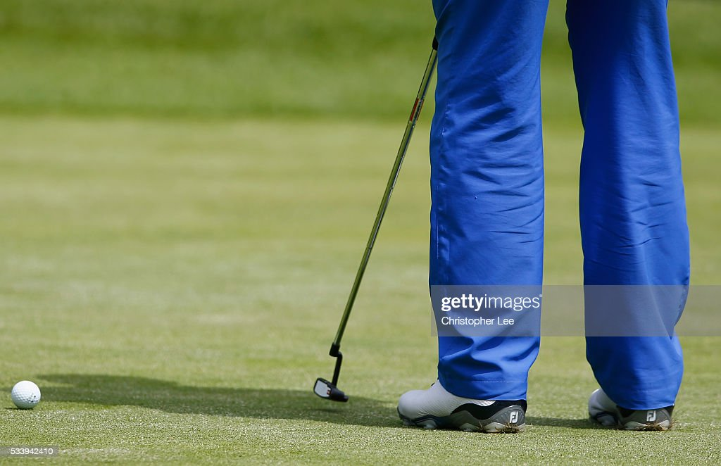 FootJoy shoes are wore by a golfer on the green during the Titleist & FootJoy PGA Professional Championship South Qualifier at Woodcote Park Golf Course on May 24, 2016 in Coulsdon, England.
