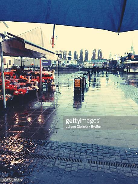 Footpath By Market On Rainy Day