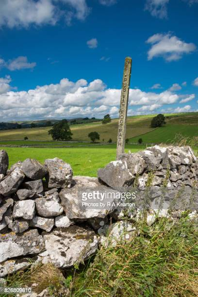 Footpath sign in the White Peak, Hartington, Derbyshire, England