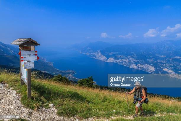 Footpath sign on Monte Baldo, Italy