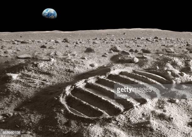 Voetafdruk van astronaut op de maan