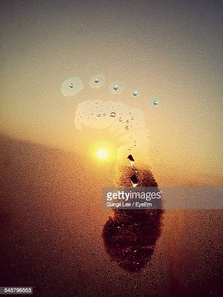 Footprint On Condensed Glass During Sunset