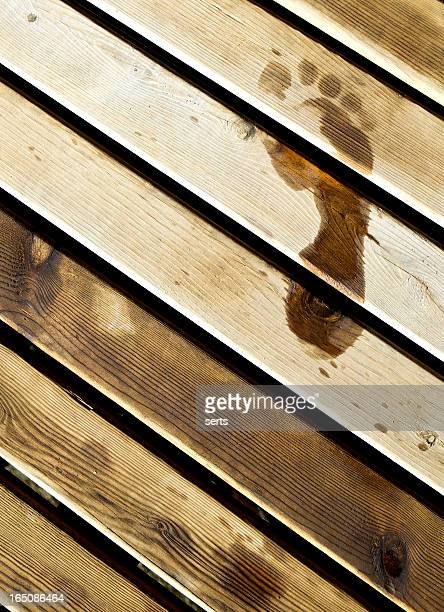 Footprint on the wood