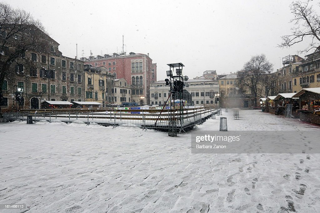 Footprints are left in the snow near Campo San Polo during heavy snow on February 11, 2013 in Venice, Italy. Heavy snow, rain and wind hit the canals as boats moved commuters across the islands.