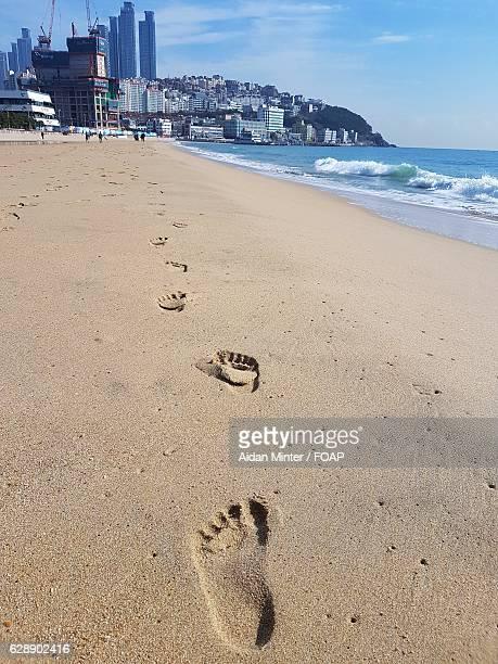 Footprints at Haeundae beach
