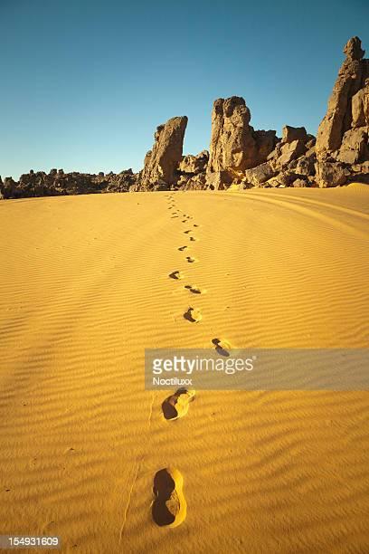 Footprints in Libyan Sahara desert