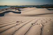 Footprints in sand, Cagliari, Sardinia, Italy