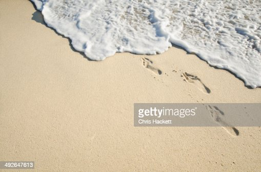 Footprints on sand, Nantucket, Massachusetts, New England, USA