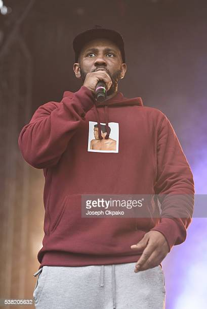 Footsie performs on stage on Day 1 of Born And Bred Festival at Haggerston Park on June 4 2016 in London England